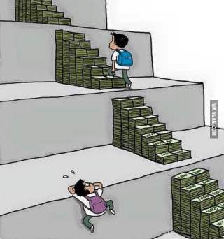 Picture showing a child climbing stairs of money up the different levels of education and another with no stairs struggling to move up to the next level