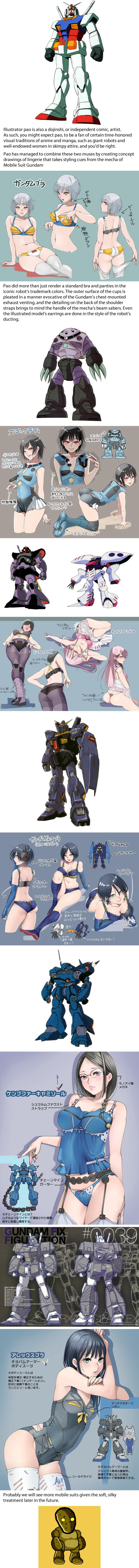 Illustrator reimagines the anime robots of Mobile Suit Gundam as a line of sexy lingerie