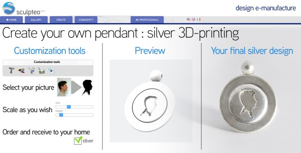sculpteo silver 3D printing Screen 2