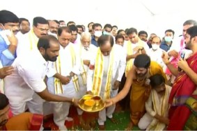 Telangana CM KC Rao lays foundation stone for TRS Party office in Delhi