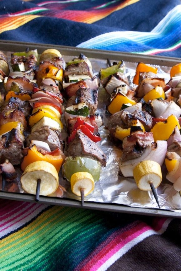 Steak and bacon shish kebabs are excellent for your next cookout or camping trip.