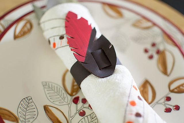 Leather feather napkin ring