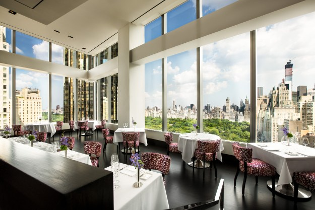 The dining room of Asiate Restaurant, NYC