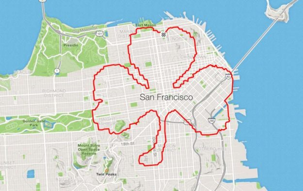 runner Lenny Maughan 3-leafed clover | San-Francisco Runner Creates Art Just By Jogging Around | Brain Berries