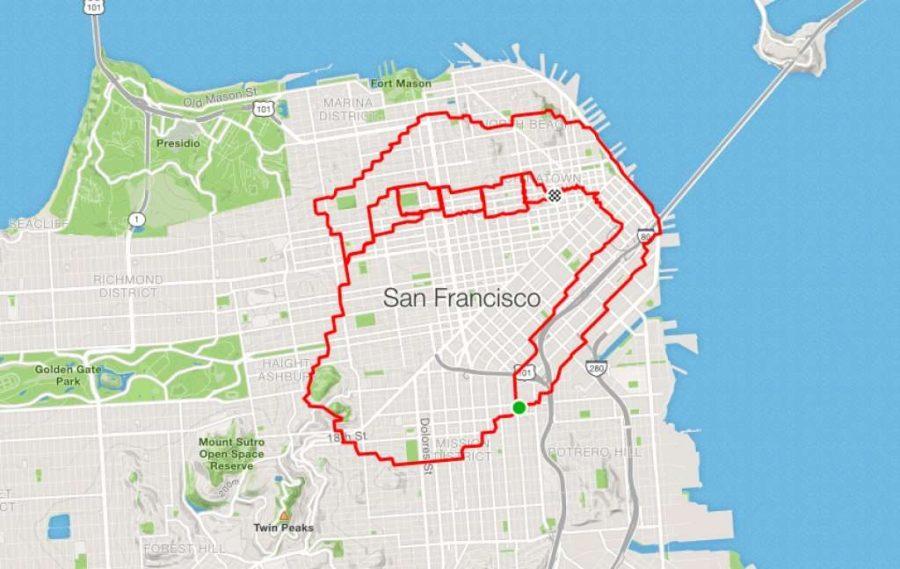 عداء ليني موجان شعار رولينج ستونز.  |  عداء سان فرانسيسكو يبتكر الفن فقط من خلال الركض في الأرجاء |  التوت الدماغ
