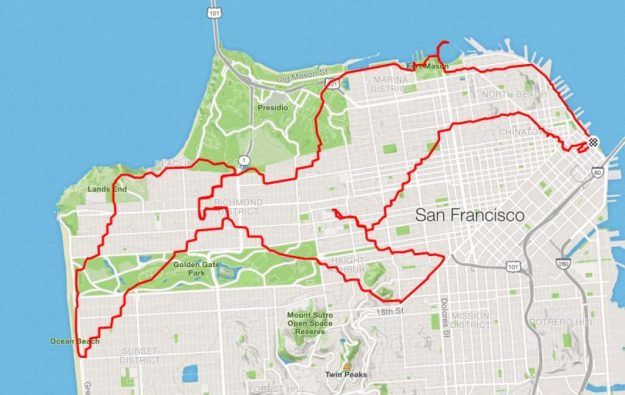 runner Lenny Maughan  seagull | San-Francisco Runner Creates Art Just By Jogging Around | Brain Berries