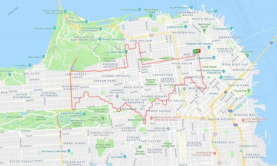 عداء Lenny Maughan Batman logo |  عداء سان فرانسيسكو يبتكر الفن فقط من خلال الركض في الأرجاء |  التوت الدماغ