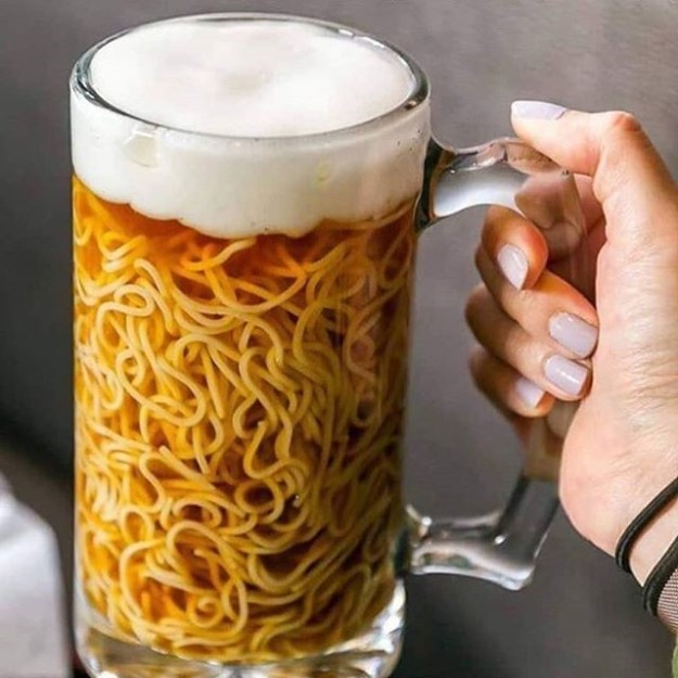 Noodles and beer | Unsettling Food Art by @TotallyGourmet | Brain Berries