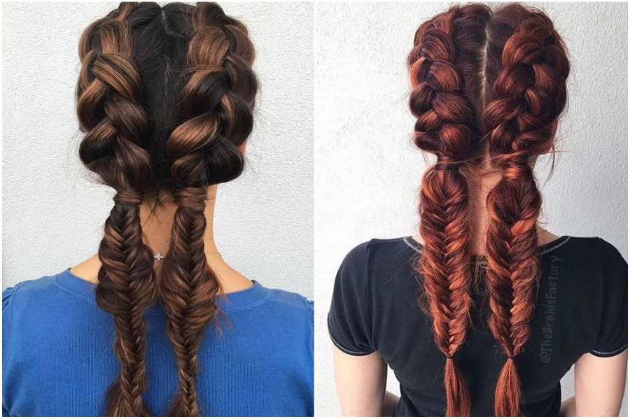 Dutch Braid & Fishtail Braid Combo | 12 Pretty Long Hairstyles for Fall 2019 | Her Beauty