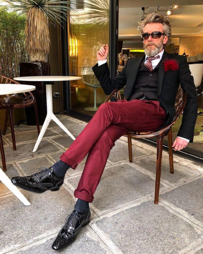 Pierrick Mathon in black waistcoat and burgundy trousers| 12 Classiest Yet Fun OOTD You've Ever Seen From Pierrick Mathon | Her Beauty