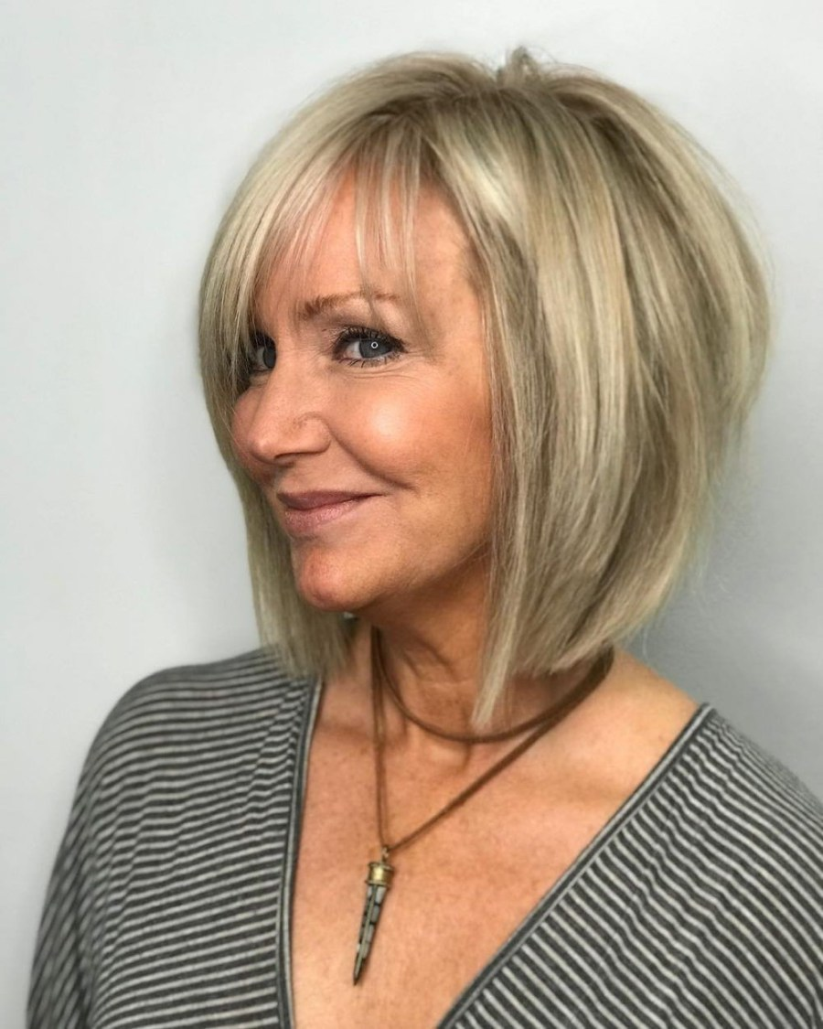 Blond balayage bob with angled layers   Short Hairstyles For Women Over 50   Her Beauty