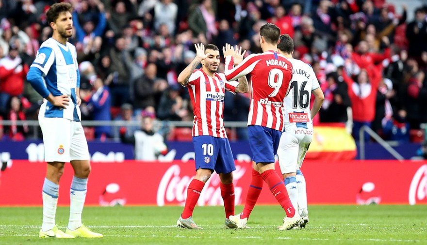 Ángel Correa y Álvaro Morata celebrando el gol del argentino (Foto: Atlético de Madrid)