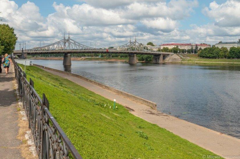 Староволжский мост и Волга, Городской сад в Твери