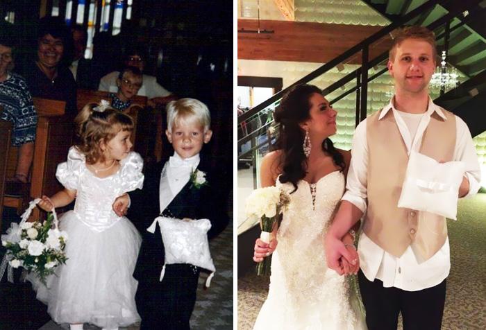 В 1995 году они несли цветы и подушечку с кольцами на чужой свадьбе, а 20 лет спустя поженились сами.