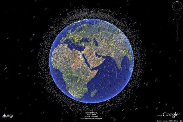 Космический мусор в Google Планета Земля