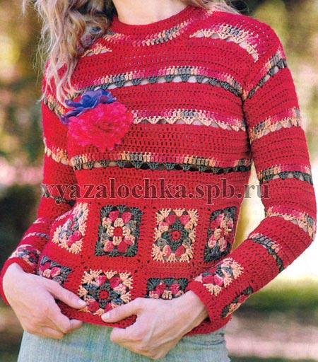 пуловер с мотивами крючком бесплатная схема вязания