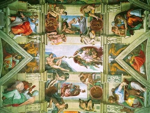 Микеланджело. Фрагмент свода Сикстинской капеллы.