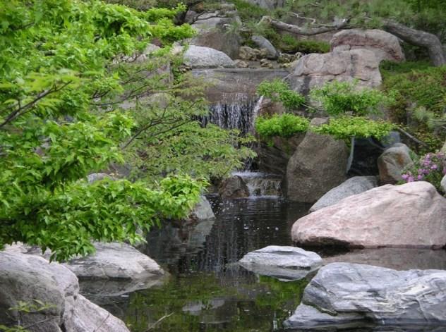 японский сад водоем водопад