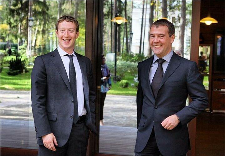 Марк Цукерберг и Дмитрий Медведев, 2012 г.