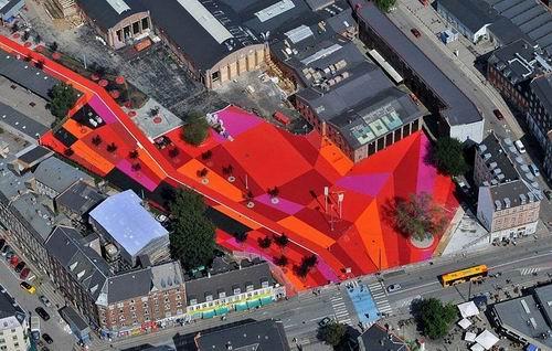 Проект Superkilen - творческая площадка для жителей и дизайнеров. Дания, Копенгаген