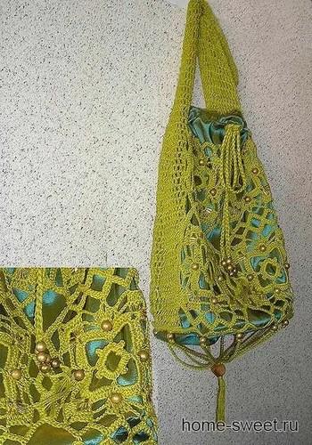 вышивка бусинами на сумке