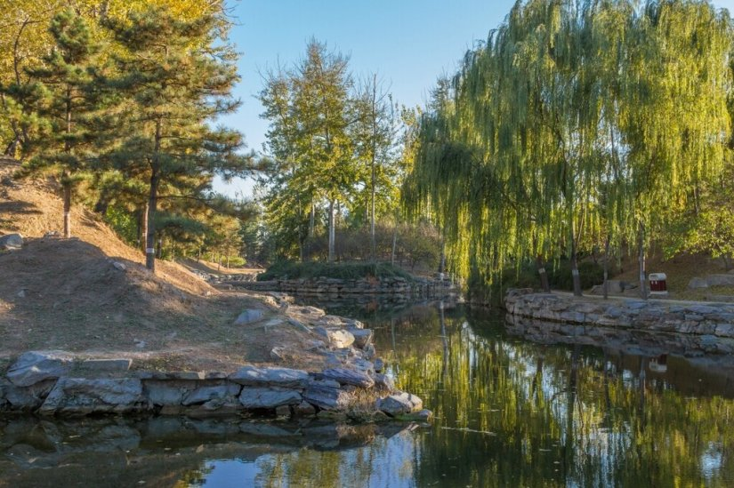 Вода, камни и деревья, парк Юаньминъюань, Пекин