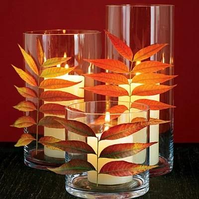 декорирование стаканов листьями