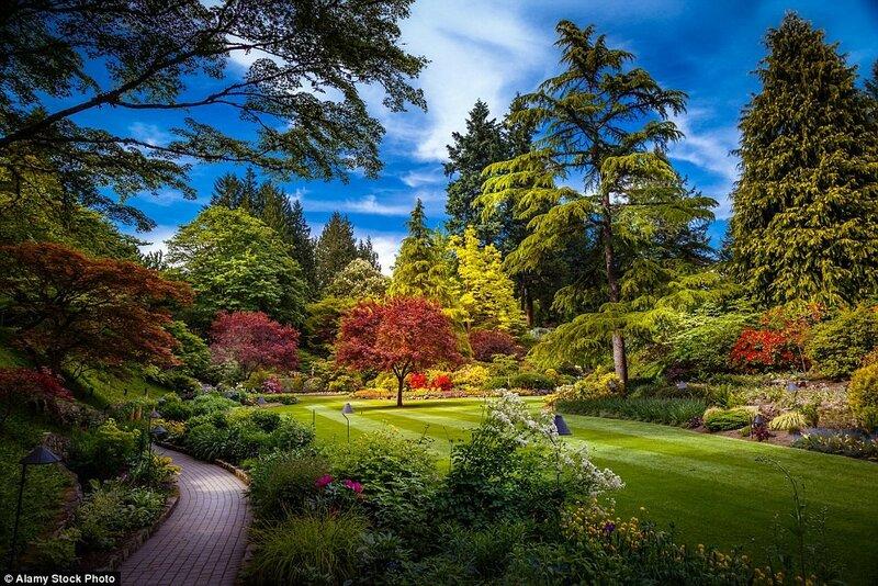 Сады Бутчартов в Британской Колумбии, Канада. Первый из садов Бутчартов, Затонувший сад, был посажен Дженни Бутчард в карьере, в котором когда-то добывали известняк.