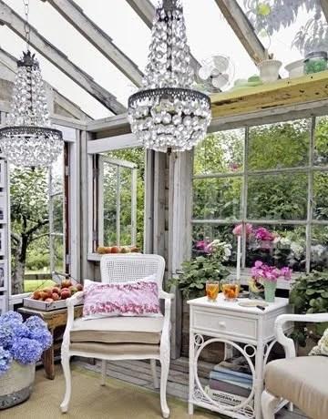 загородный интерьер кухни столовой