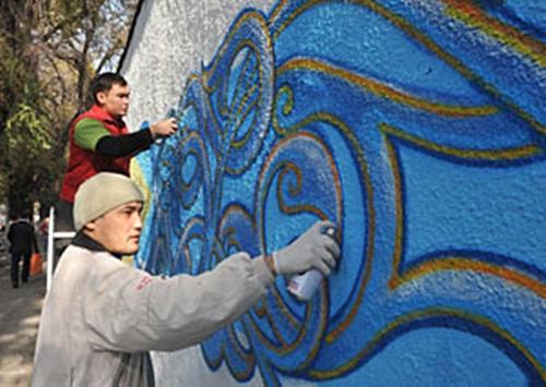 """Фестиваль граффити """"Бесконечные орнаменты. Орнек.kz"""" в Алматы."""