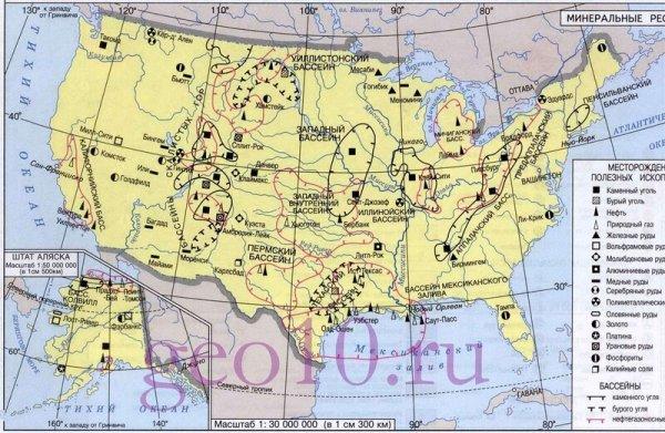 Карта месторождений минеральных ресурсов США: iv_g ...