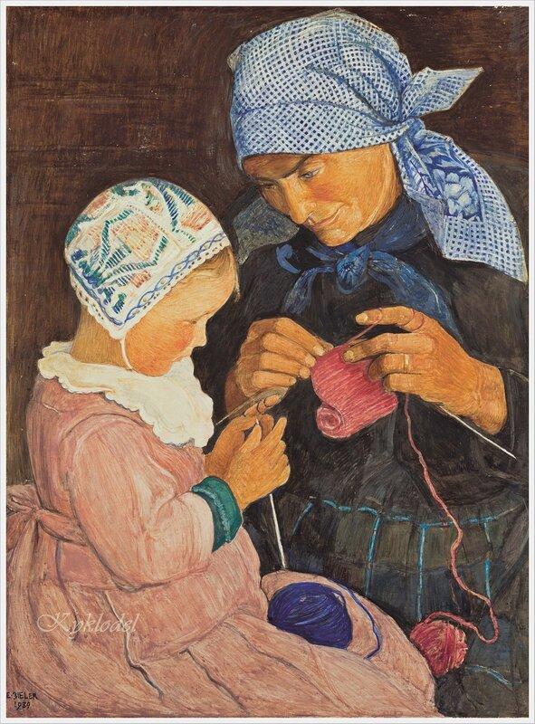 The Knitting Lesson - Ernest Bieler - 1908