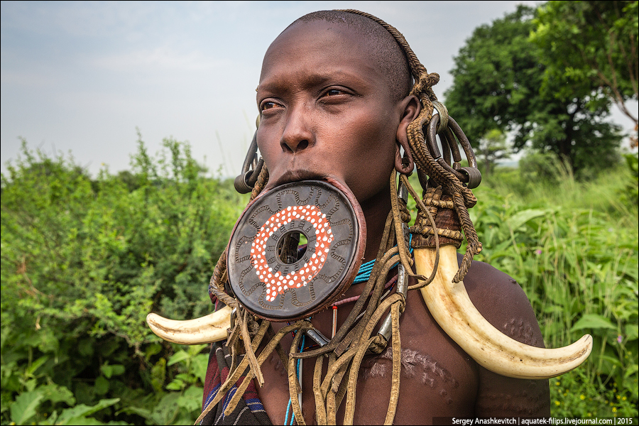 Mursi tribe / tribes with the dishes in the lip