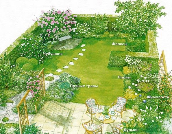 оформление участка дизайн цветы на участке