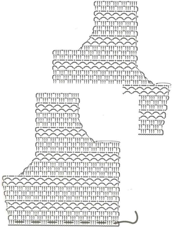 туника крючком кофточка с застежкой схема вязания