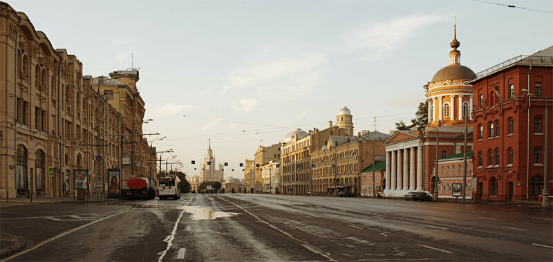 Интересные фотографии рассвета в сонной Москве