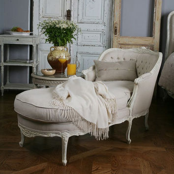 vintage tufted chaise lounge sofa chair by frencheclectic on etsy