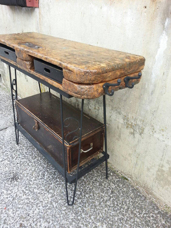 rustic vanity table salon station repurposed industrial salvaged antique pallet cart desk distressed wrought iron stand storage whagn