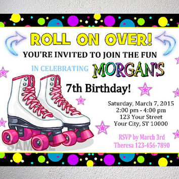 rollerskating party invitation printable roller skate birthday party invitation with free thank you card roller skate party digital files