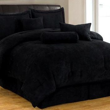 7 piece solid black micro suede comforter set cal california king bed in a bag with accent pillows