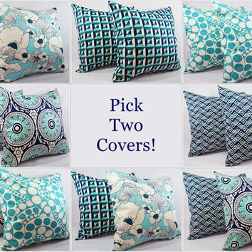 pick your own navy and teal pillow covers 16 x 16 decorative throw pillow geometric pillow teal navy blue pillow covers