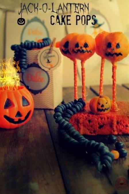 Receta de Cake Pops Jack - O - Lantern Halloween
