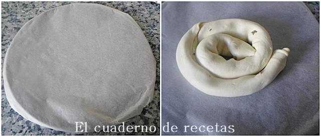 Espiral de hojaldre y espinacas