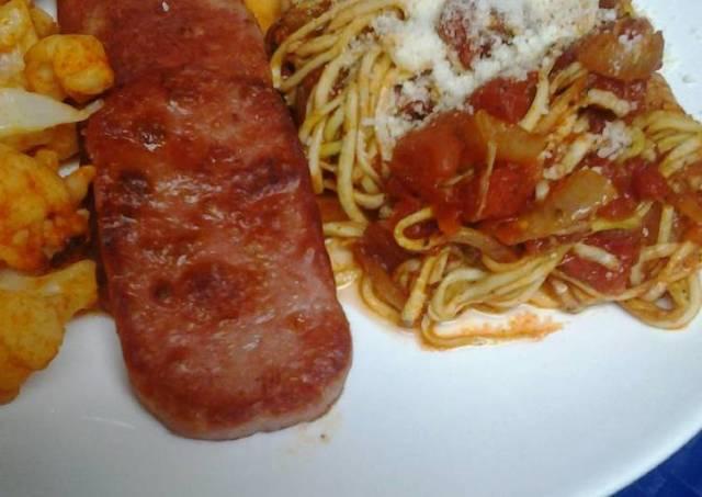 Zucchini spaghetti with hickory smoked spam