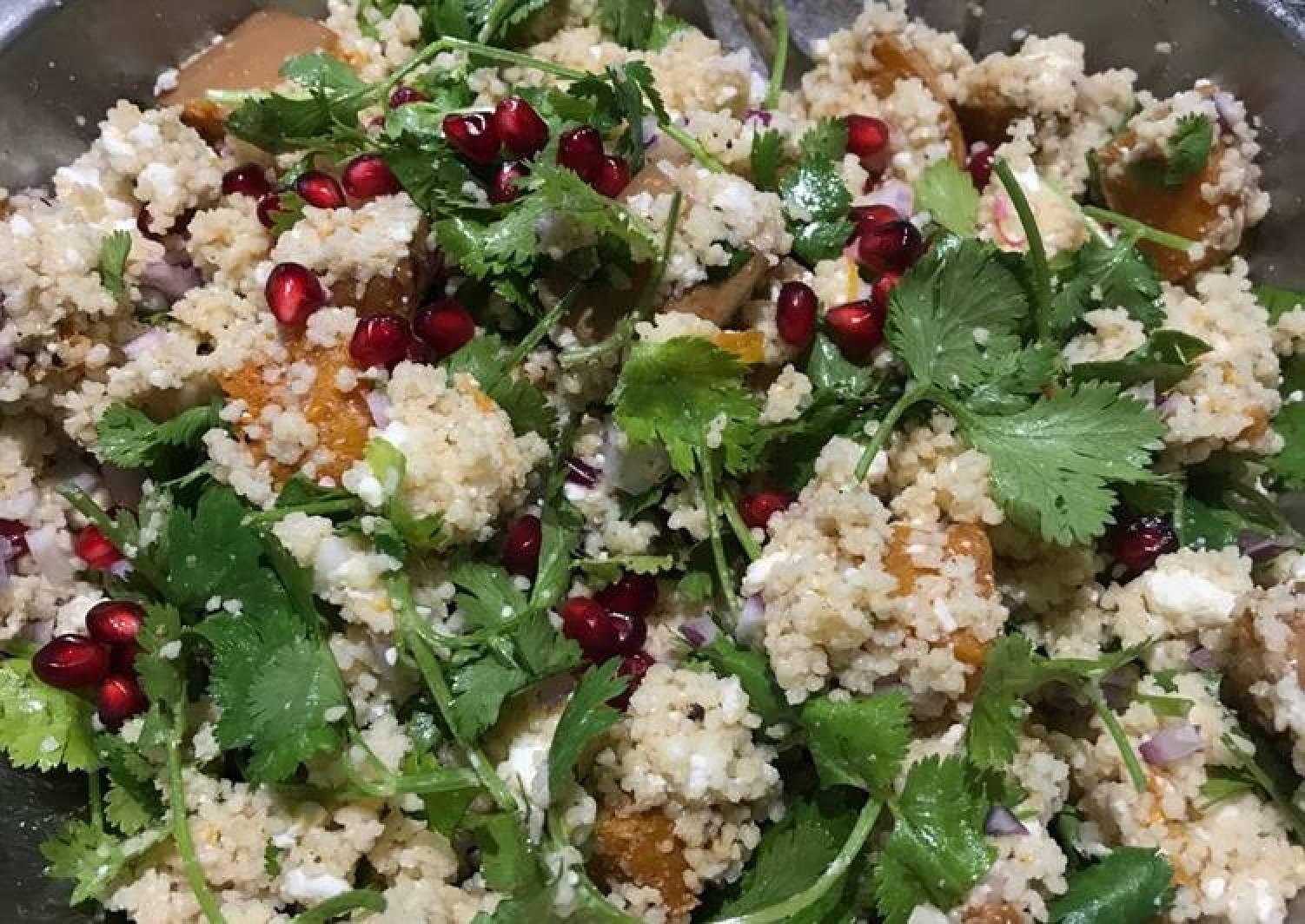 Butternut squash, feta, pomegranate salad
