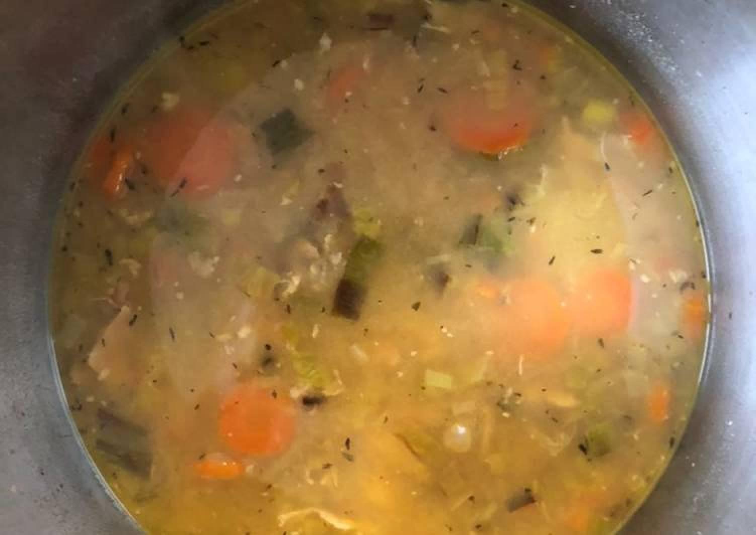 Chicken Stock, Leek, Carrot & Bean Broth