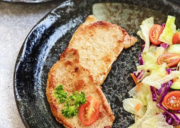 Easy Pan Seared Pork Chops with Garlic Red Wine Vinegar Salad