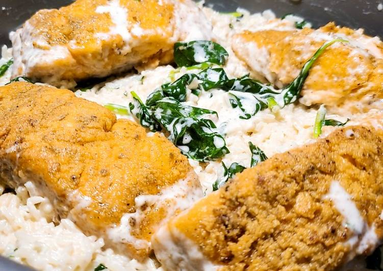 Fried Salmon with Garlic Rice