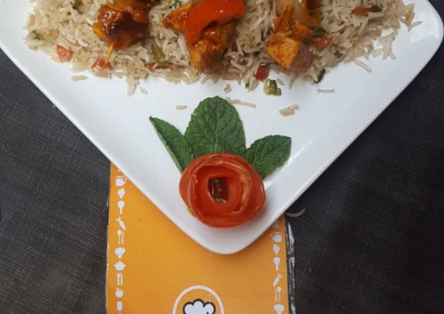 Peri peri skrewers with fried rice