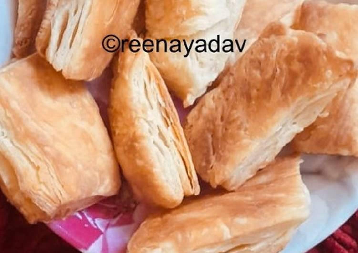 Homemade khari biscuit with homemade puff pastry sheet